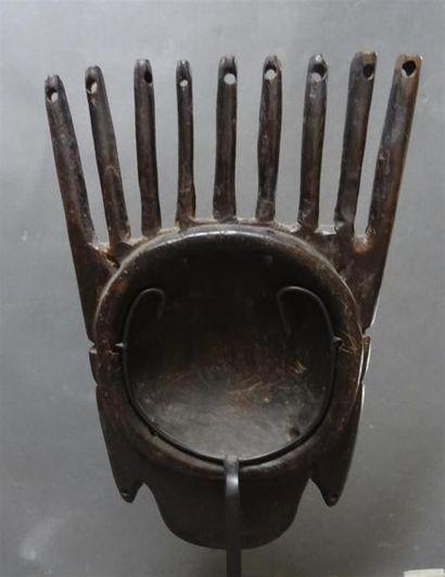 BAMBARA - MALI Element décoratif en bois figurant un visage H. 35 cm