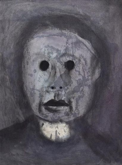 EVARISTO (1923-2009) Tête d'homme Lavis d'encres,...