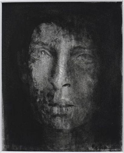 Isabelle THÉ (XXe) Visage Encre H. 15,5 cm...
