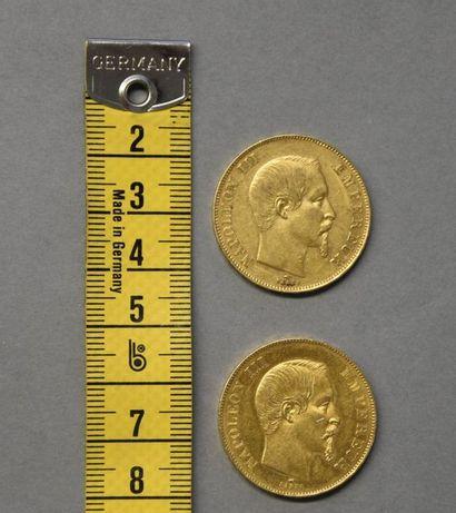 FRANCE   Deux pièces en or 50 Francs, Napoléon...