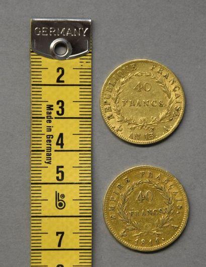 FRANCE   Deux pièces en or 40 Francs   - Napoléon Ier, tête nue Paris An 13  ...