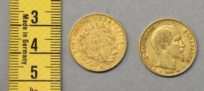FRANCE Deux pièces de 20 Francs en or Napoléon...