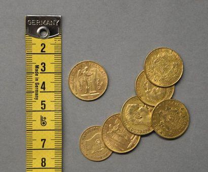 FRANCE   Six pièces en or 20 Francs  ...