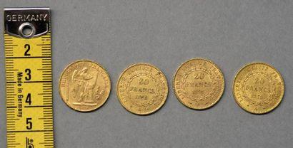 FRANCE Quatre pièces de 20 Francs en or Paris,...
