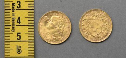 SUISSE Deux pièces de 20 Francs en or Helvetia,...