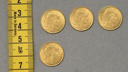 FRANCE Quatre pièces de 10 Francs en or 1899-1901-1906-1912...