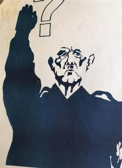 """""""De Gaulle ?""""  Sérigraphie monochrome, bleue, sur papier non entoilé  Tampon """"ECOLE..."""