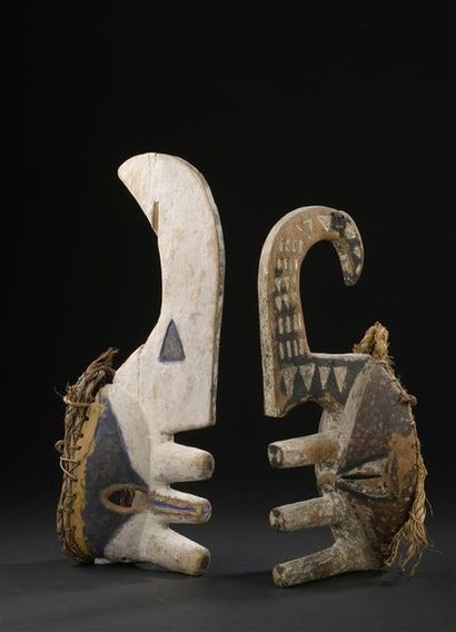 Deux masques Igbo-Afikpo, mmaji Nigeria H....