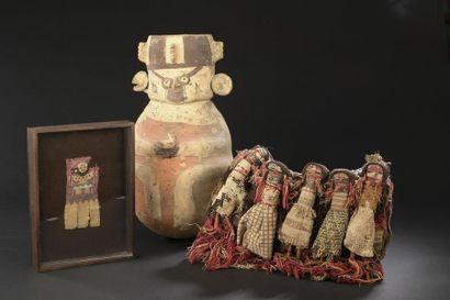 Pochette funéraire tissée et poupées de laine...