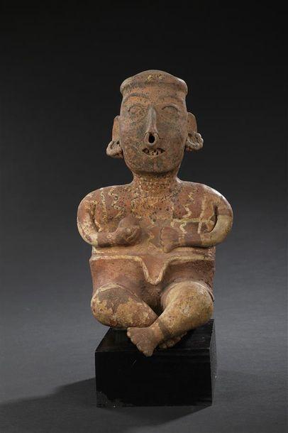 Homme assis Culture Nayarit, Ixtlan del Rio, Mexique occidental Protoclassique,...