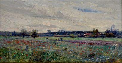 Émile NOIROT (1853-1924) Paysage au champs de coquelicots Huile sur toile, signée...