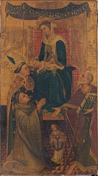 École FRANÇAISE vers 1400-1410 Moine franciscain en prière devant la Vierge et l'Enfant...