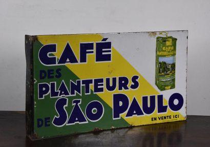 Plaque émaillée café des planteurs de sao...