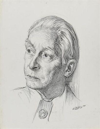 Aaron BILIS (1893-1971) Portrait de Henry de Waroquier, 1966 Dessin au fusain, signé...