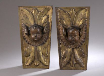 Deux panneaux en bois polychrome et doré...