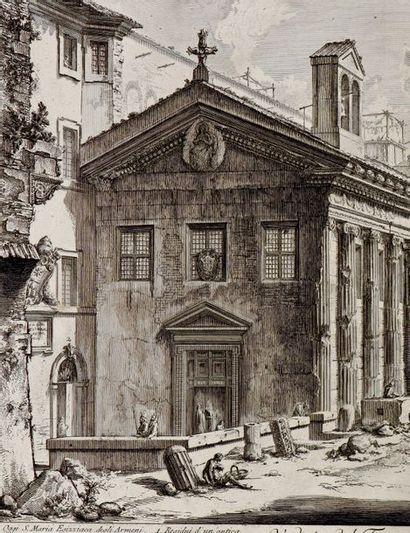 Giovanni Battista PIRANESI (1720-1778) Vue du Temple de la Fortune Virile, vers 1758...