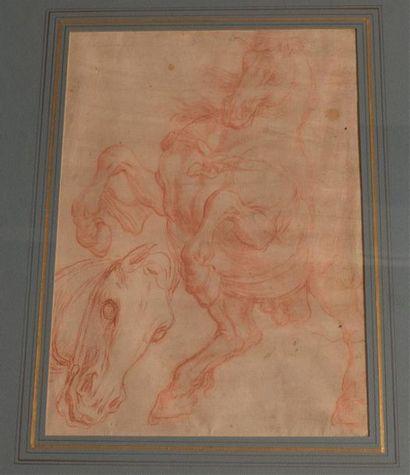 École Flamande du XVIIe siècle Étude de tête de cheval et cheval cabré Contre-épreuve...