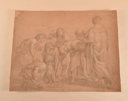 Étienne PARROCEL (1696-1775) Euclide et ses élèves, d'après Raphaël Pierre noire...