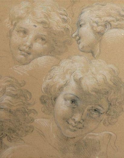 Attribué à Pierre MIGNARD (Troyes 1612 - Paris 1695) Feuille d'études de têtes de...