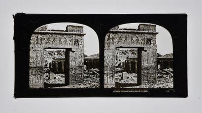 Égypte en stéréoscopie sur verre, vers 1855 Très rare suite de 7 plaques stéréoscopiques...