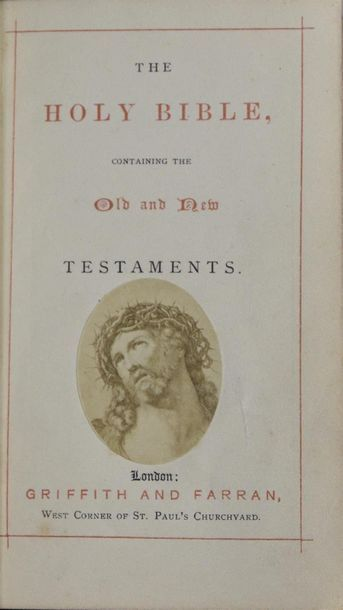 Holy Bible Photographs, vers 1870 Rare bible anglaise publiée à Londres par Griffith...