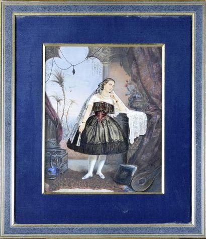 La belle sévillane, vers 1865 Tirage albuminé...