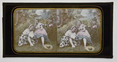 Curiosia stéréoscopique, vers 1860 2 belles et rares plaques stéréoscopiques sur...