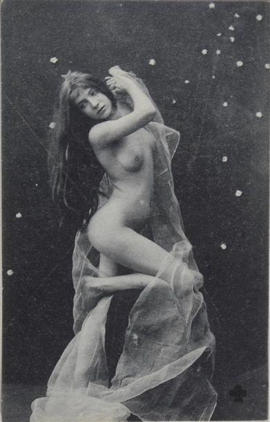 Érotique, 1900 Amusante série de 6 cartes postales, tirage argentique vers 1909...
