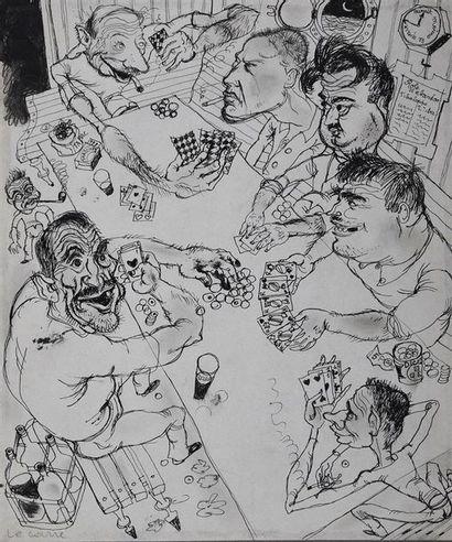 Roger Parry (1905-1977) La partie de carte avec Parry et Loris au carré, sur L'Elima...