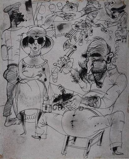 Roger Parry (1905-1977) Ambiance à bord de L'Elima, 1930 Dessin à l'encre (plume),...