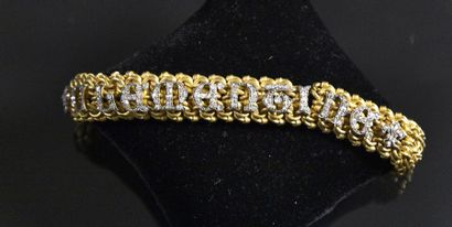 Bracelet ruban ancien en or jaune 18K (750°/°°)...