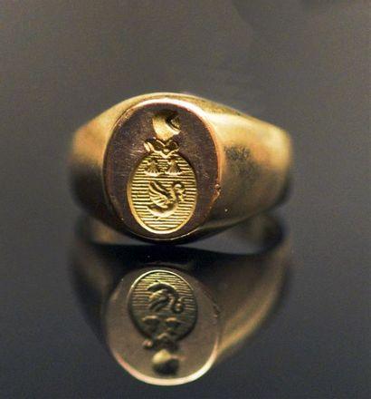 Chevalière de petit doigt en or jaune 18K...
