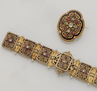 Bracelet ancien en or jaune 18K (750°/°°)...