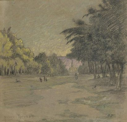 Pierre PRINS (1838-1913) Promeneurs dans...