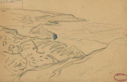 Henry MORET (1856-1913) Bord de mer Crayon...