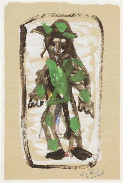 Vasyl KHMELUK (1903-1986) Clown en vert Gouache...