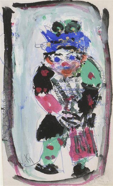 Vasyl KHMELUK (1903-1986) Clown au chapeau...