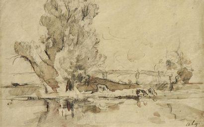 Albert LEBOURG (1849-1928) La mare Plume...