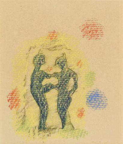 Max ERNST (1891-1976) Deux personnages Pastel...