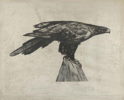 Paul JOUVE (1878-1973) Aigle sur un pic perché...