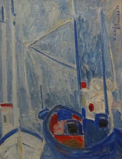 Régis BERNARD (né en 1932) Bateaux de pêches D. Kaëgi, 70 Huile sur isorel, signée...