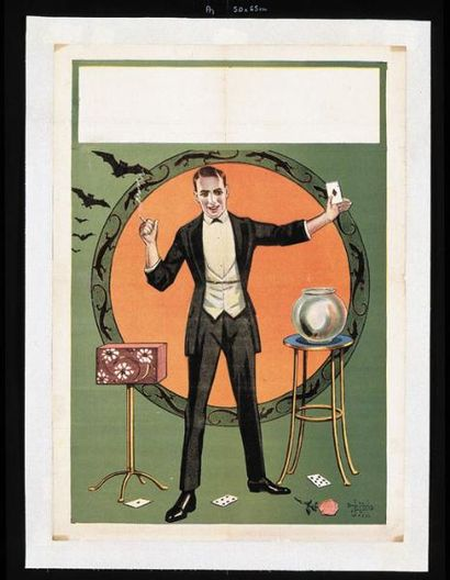 PASSE-PARTOUT.Affiche lithographiée passe-partout.Un magicien dans un cercle de...
