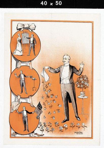 """PASSE-PARTOUT.Affiche lithographiée passe-partout.Le magicien présente """"Le Foulard..."""