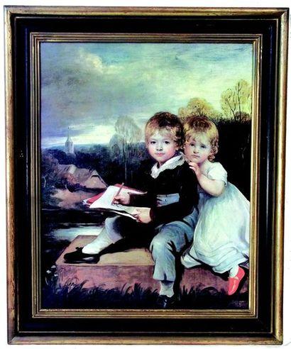 «Frère et soeur dans un paysage» Huile sur...