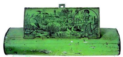 Herbier en métal de couleur verte avec lithographie...