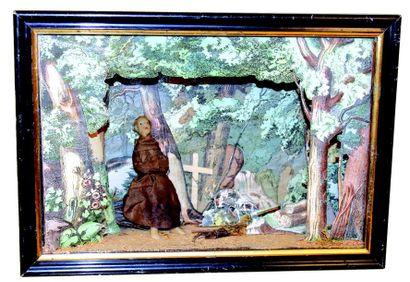 Vitrine panoramique avec un décor de forêt...