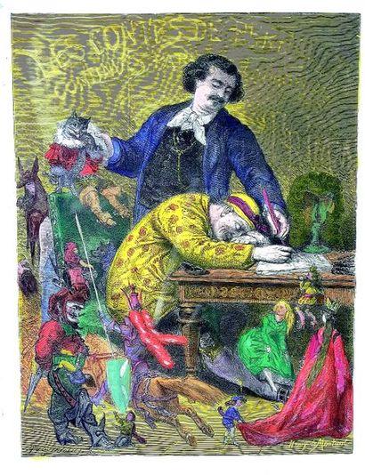 Superbe gravure coloriée par Henry de Montaut...