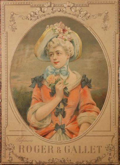 Louise Abbéma (1853-1927)  pour Roger & Gallet - (années 1910)  Panneau publicitaire...