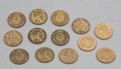 Ensemble de 13 MONNAIES en or : 10 monnaies...