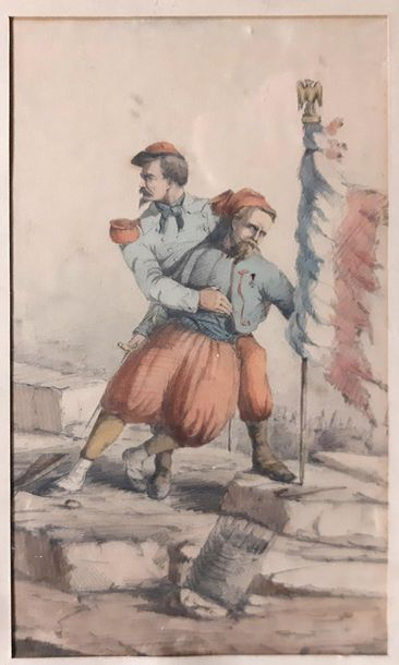 ECOLE FRANCAISE XIXe siècle  Deux militaires...